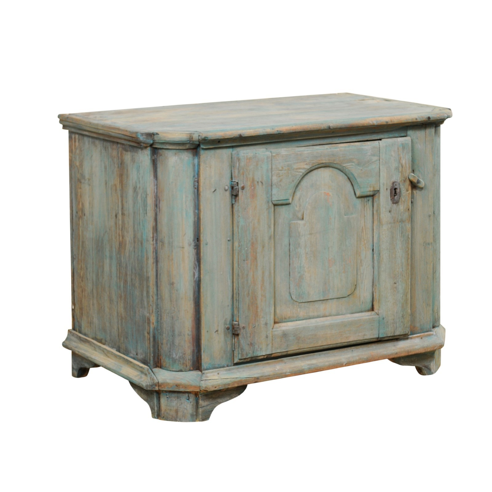 18th C. Swedish Cabinet in Teal Blue