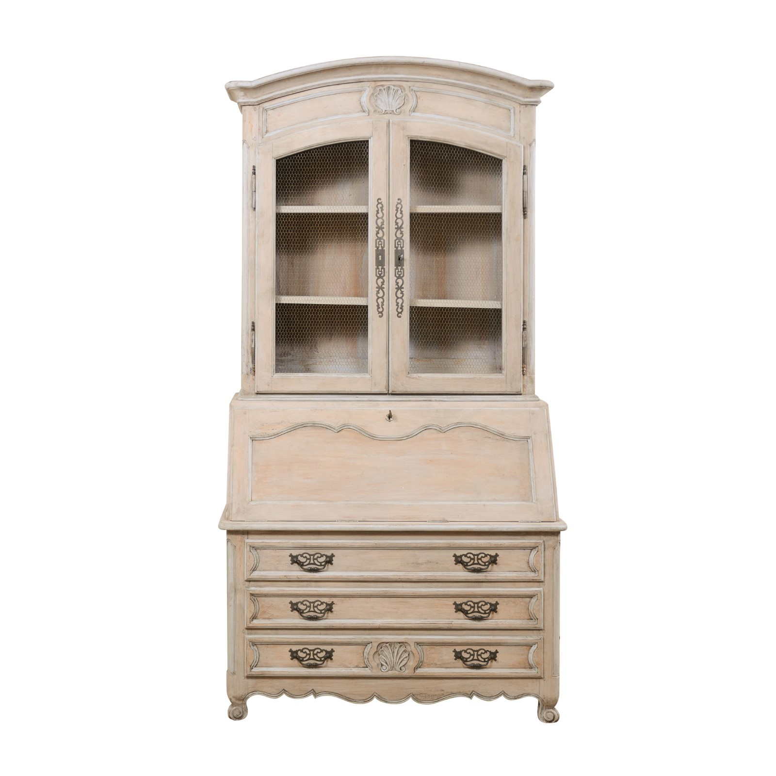 A French Vintage Secretary Curio Cabinet
