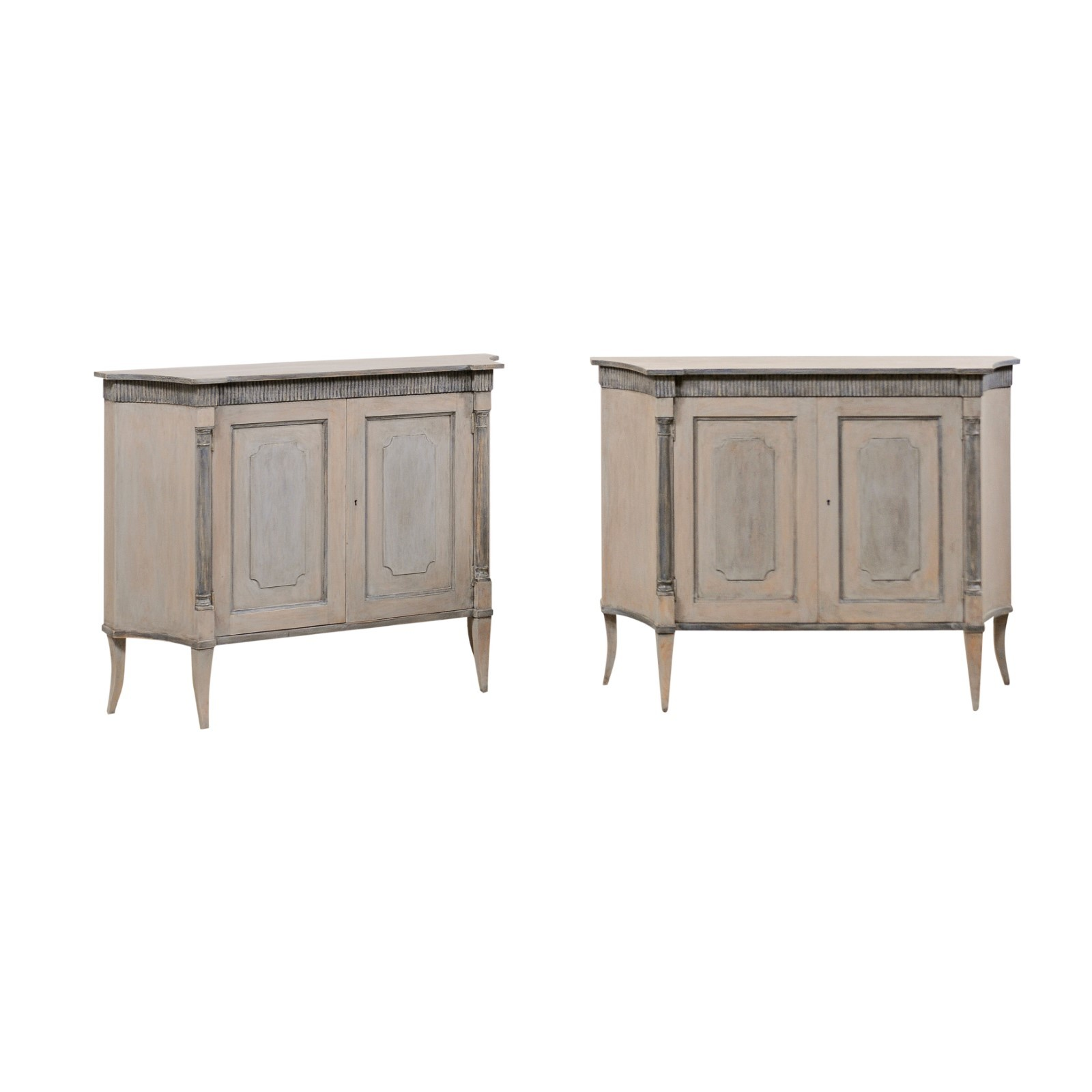 Pair of French Style Cabinets on Sabre Legs