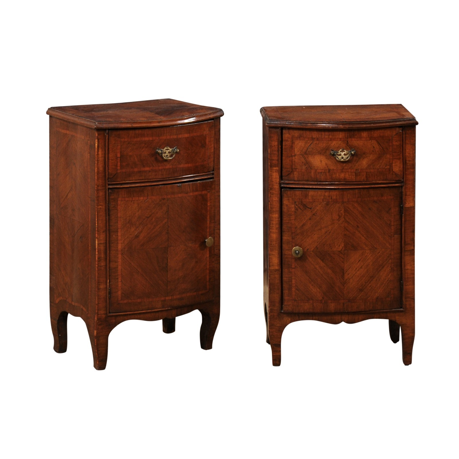 Antique Pair Petite Bow-Front Chests, Italy