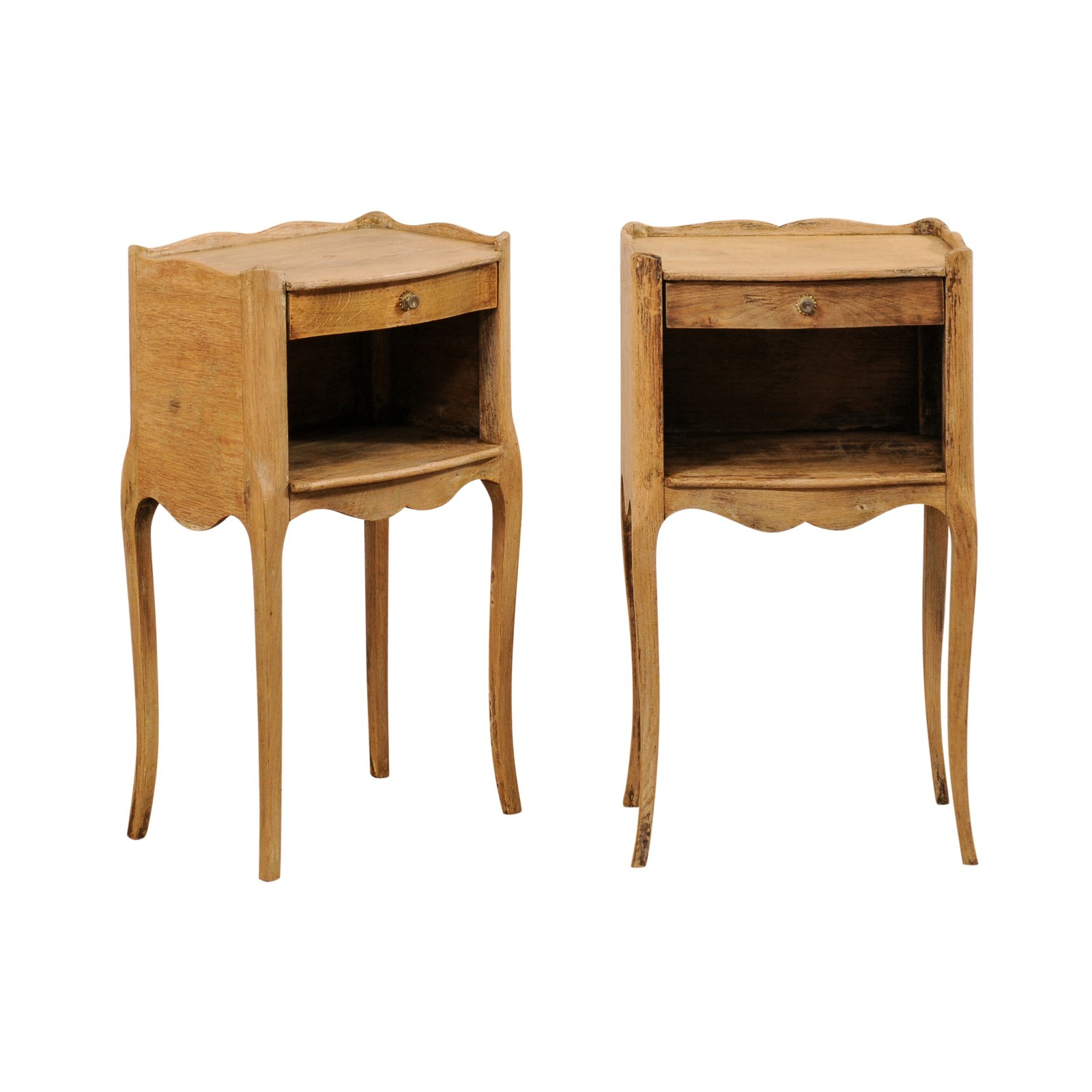 A Pair of French Bleached-Wood End Tables