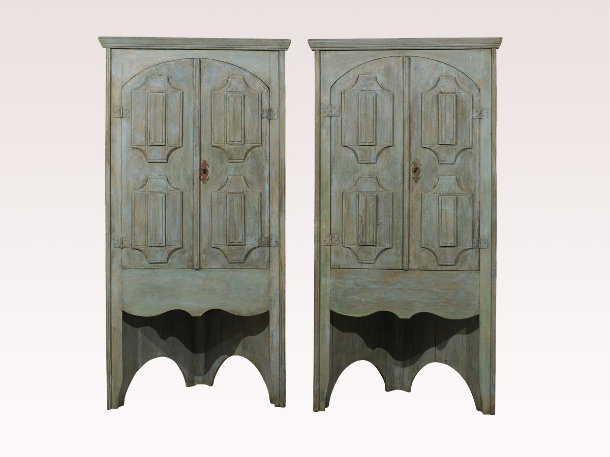 Pair of 19th C. Corner Cabinets, 7.5 Ft.