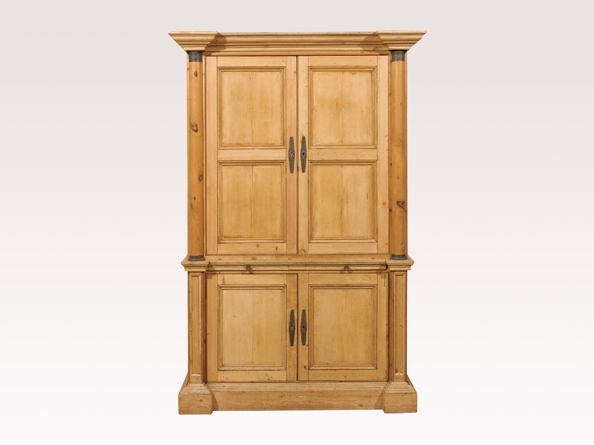 Tall English Natural Wood Cabinet