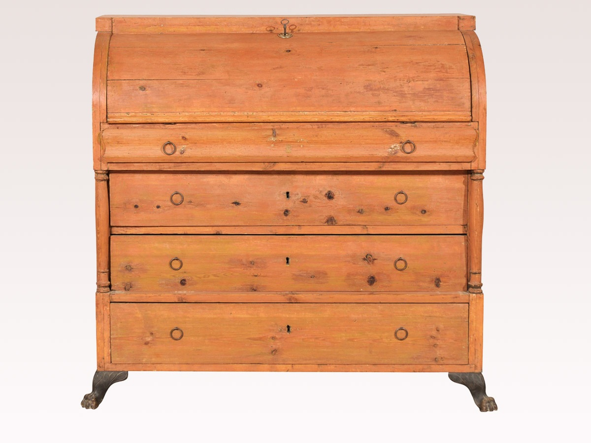 Swedish Orange Painted Chest
