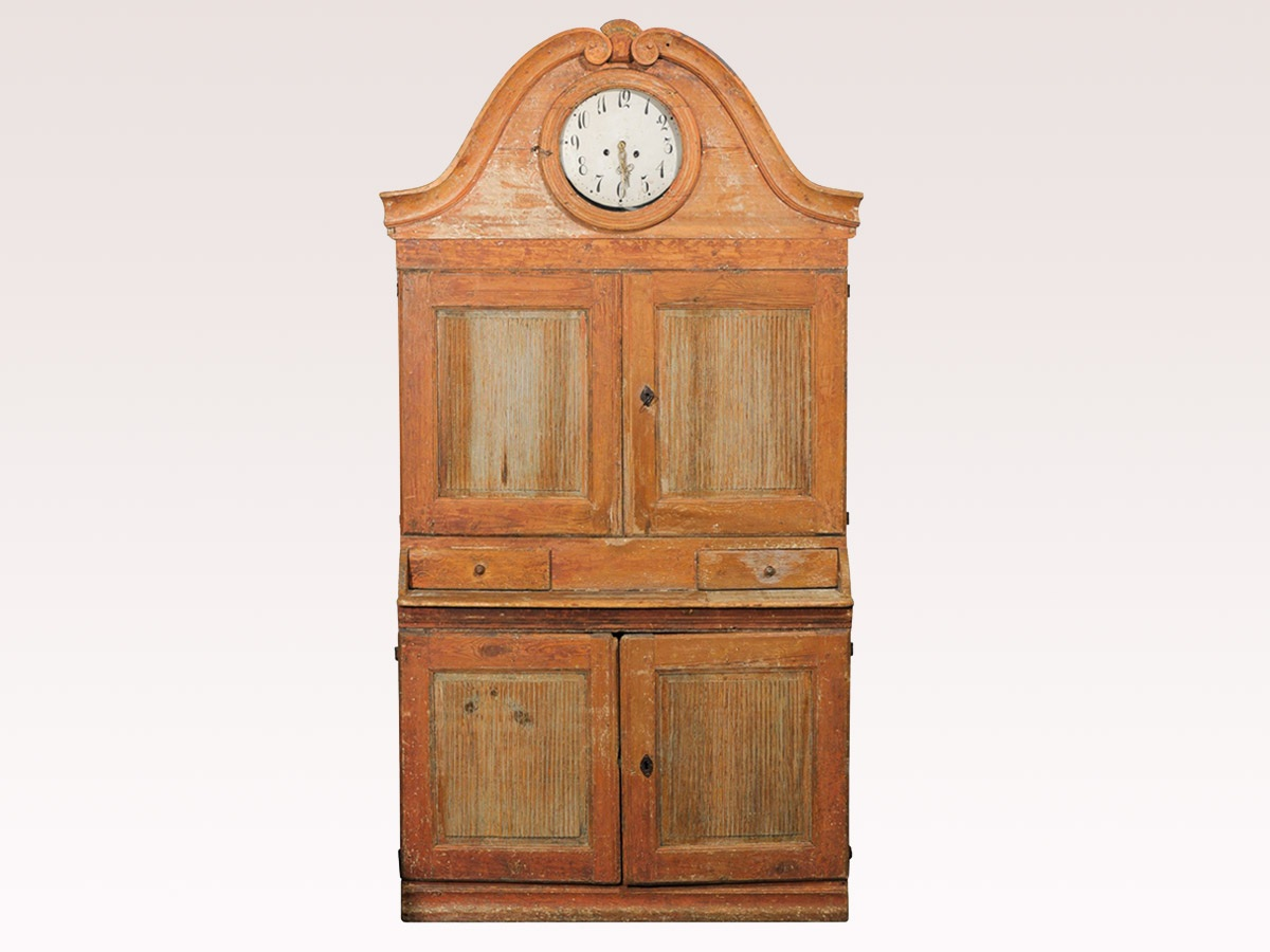 Karl Johan Period Swedish Cabinet w/Clock