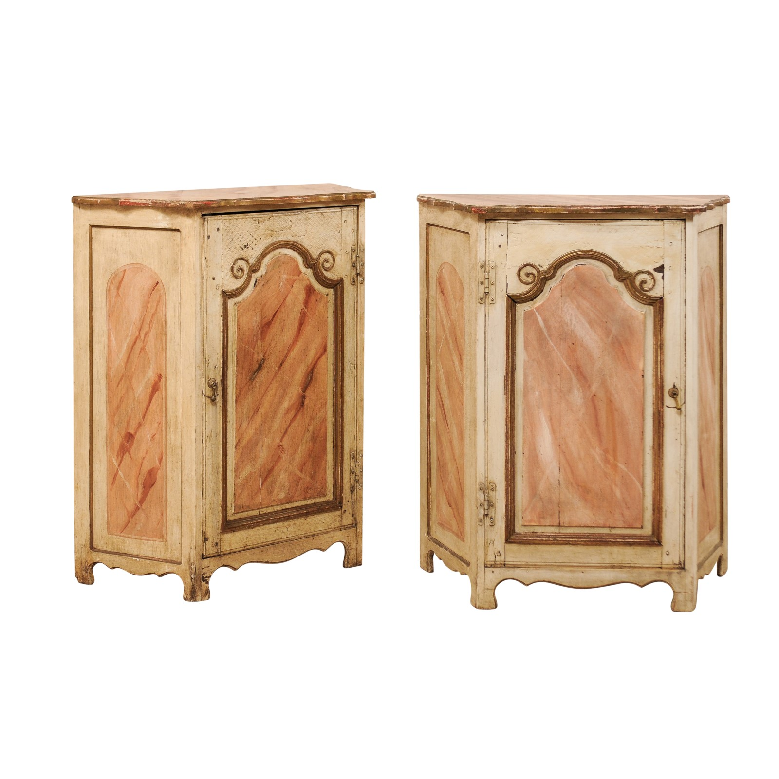 A Pair of Painted Wood Commodini