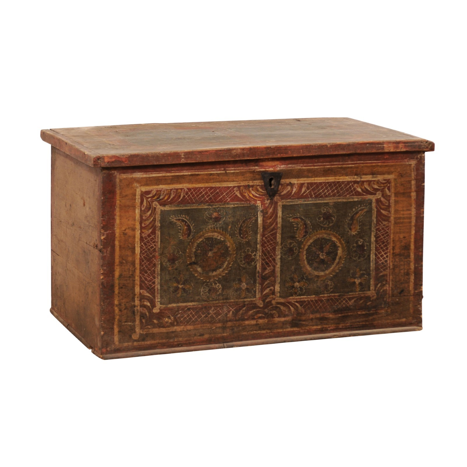 19th C. Coffer w/Original Hand-Painting