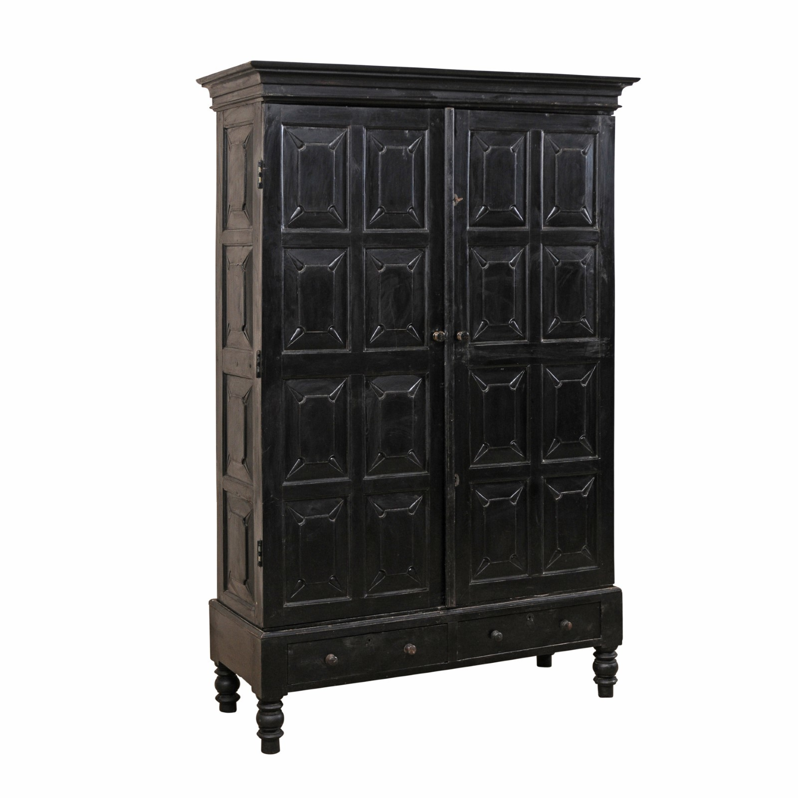 British Colonial Ebonized Wood Cabinet