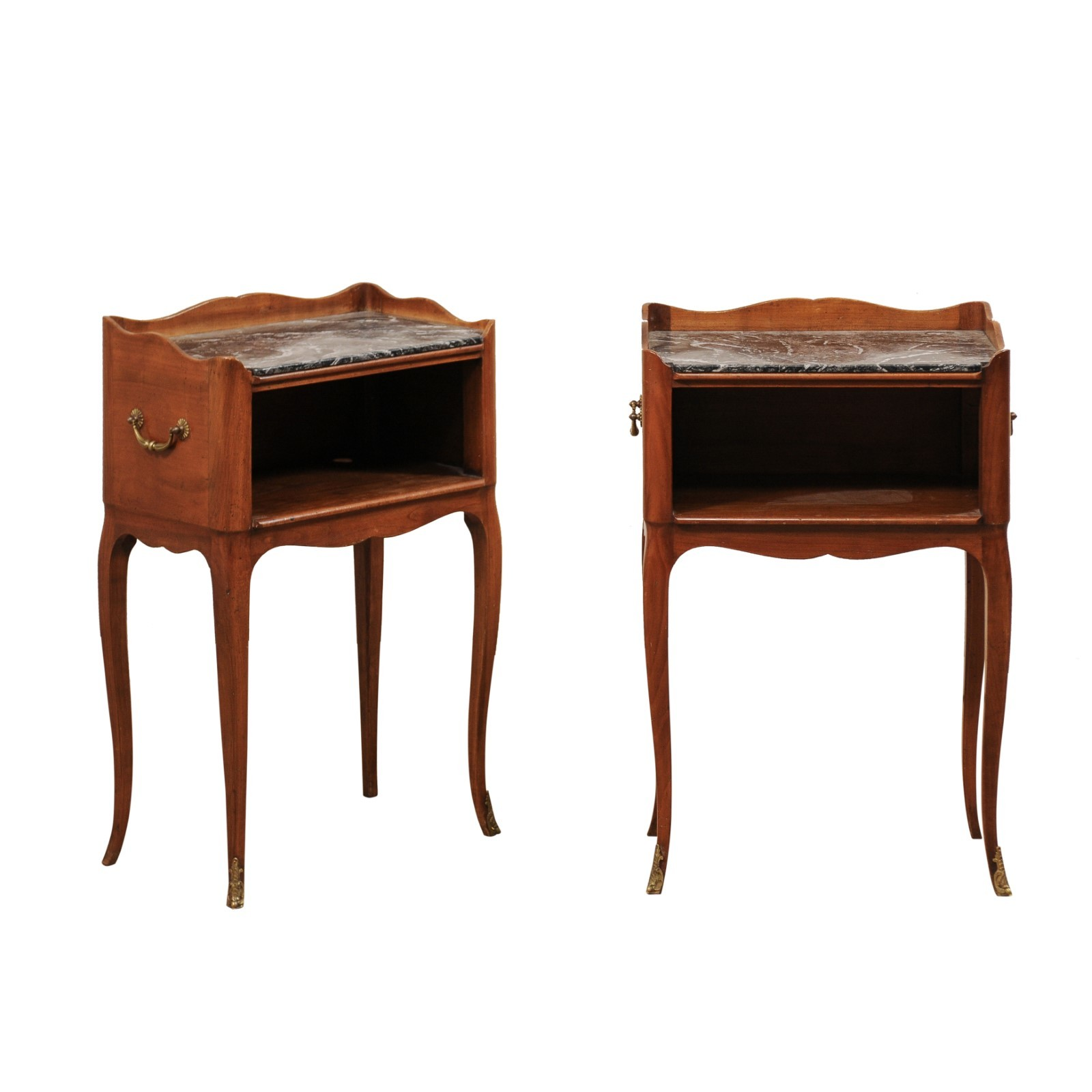 Pair French Marble Top Side Chests