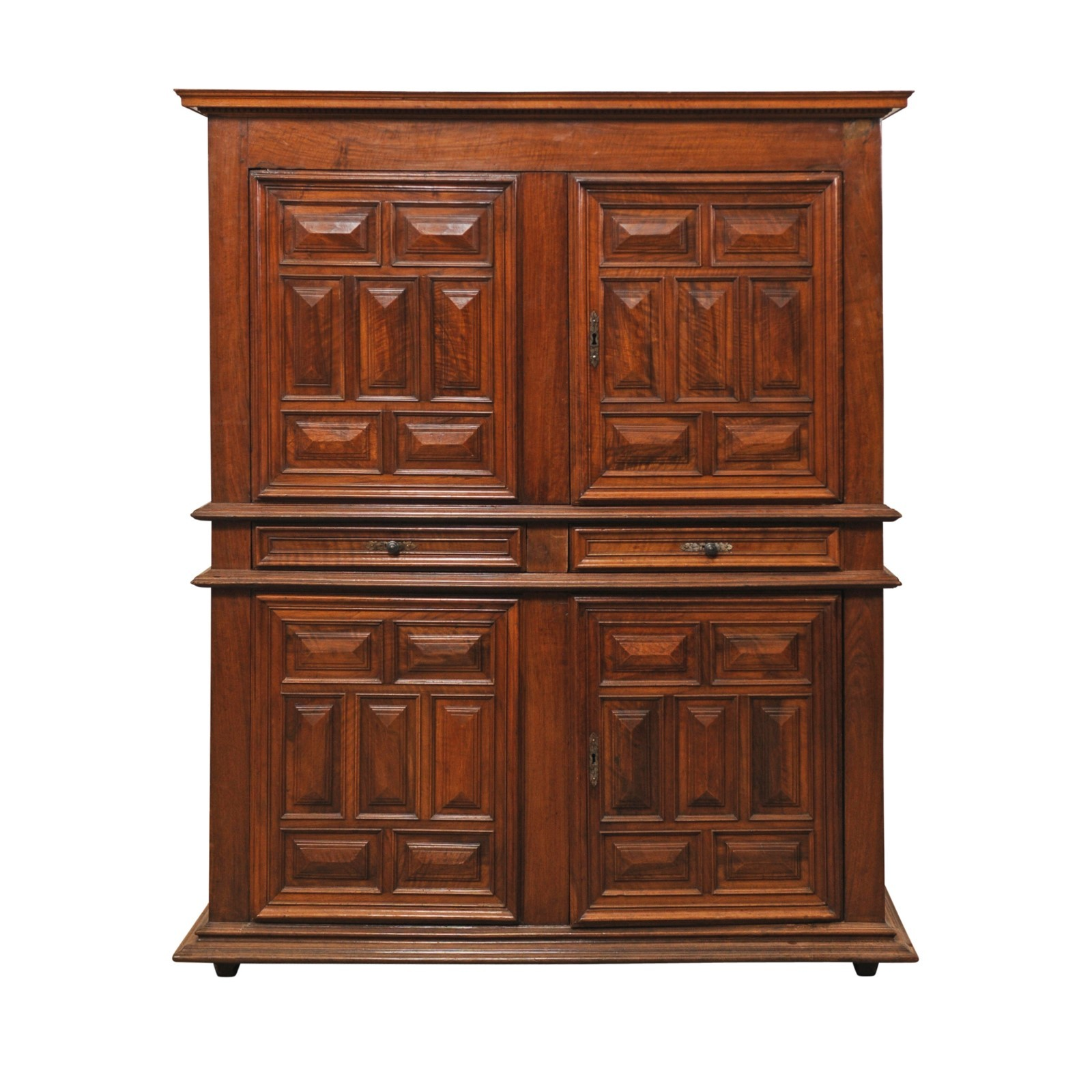 French Walnut Raised-Panel Tall Cabinet