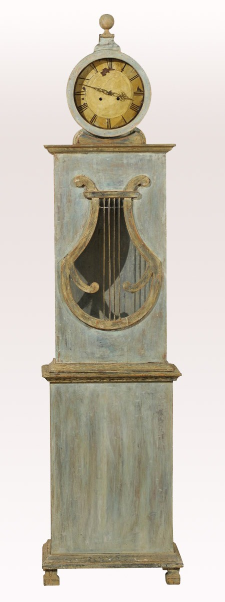 Swedish 19th C. Floor Clock, Lyre Motif