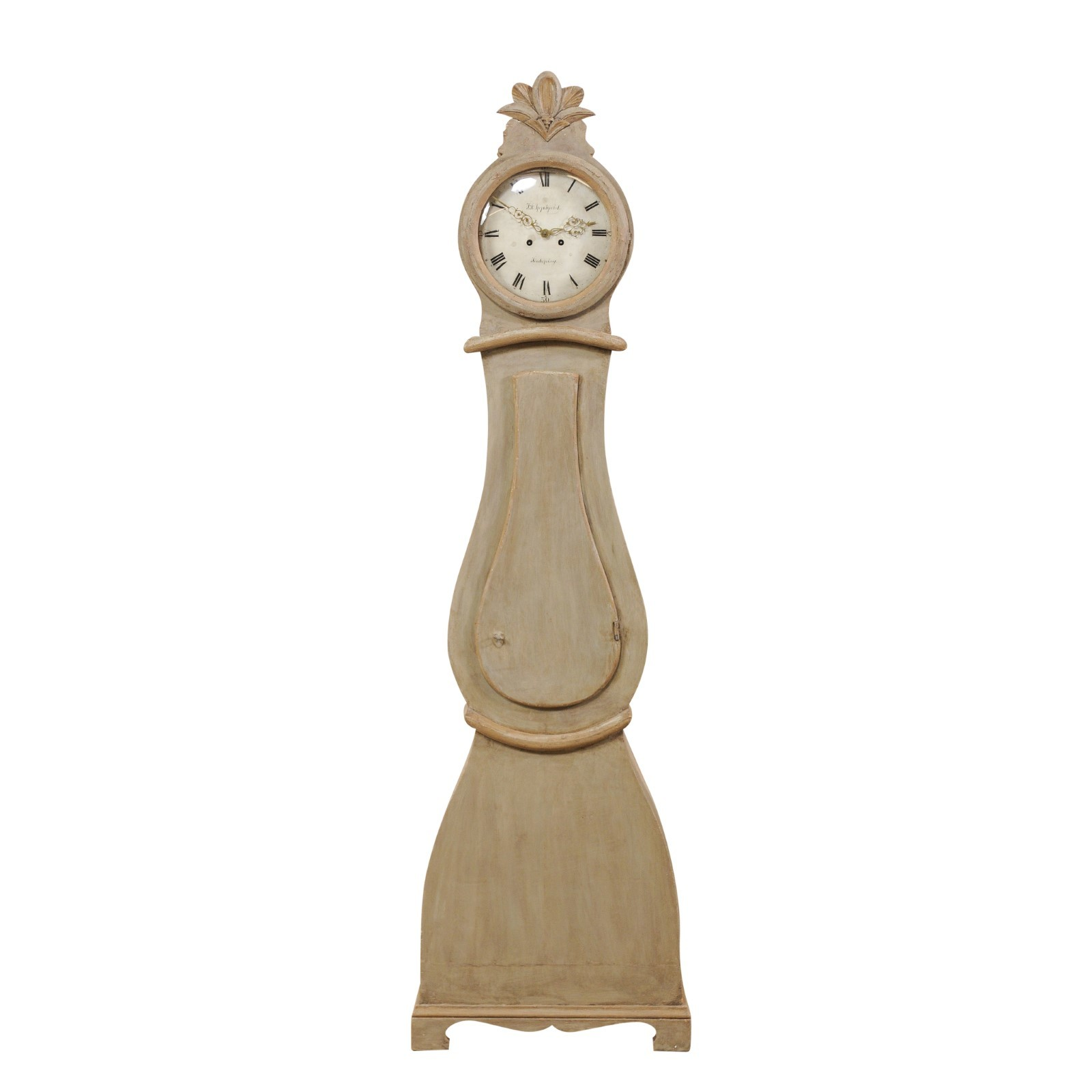 Swedish 19th C. Clock w/Carved Crest