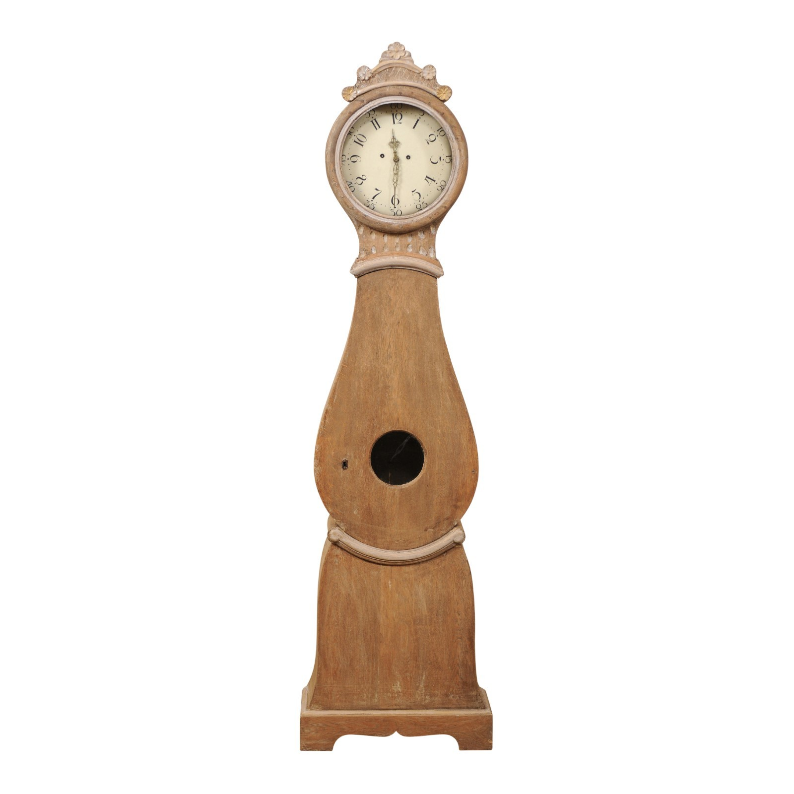 Swedish Clock w/Carved Floral Bonnet