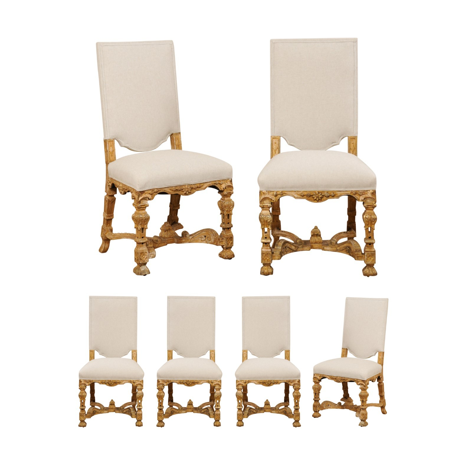 Set of Ornately Carved English Side Chairs