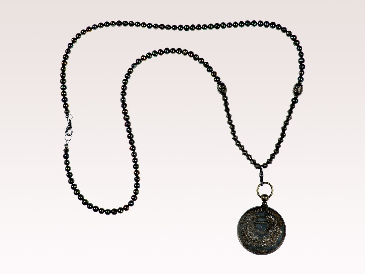 Cultured Pearl and Medal Necklace
