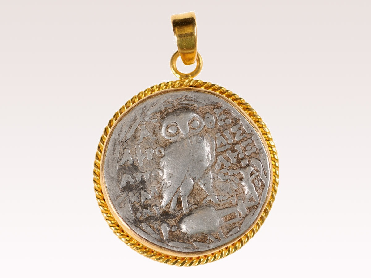 Ancient Greek Owl Coin Pendant