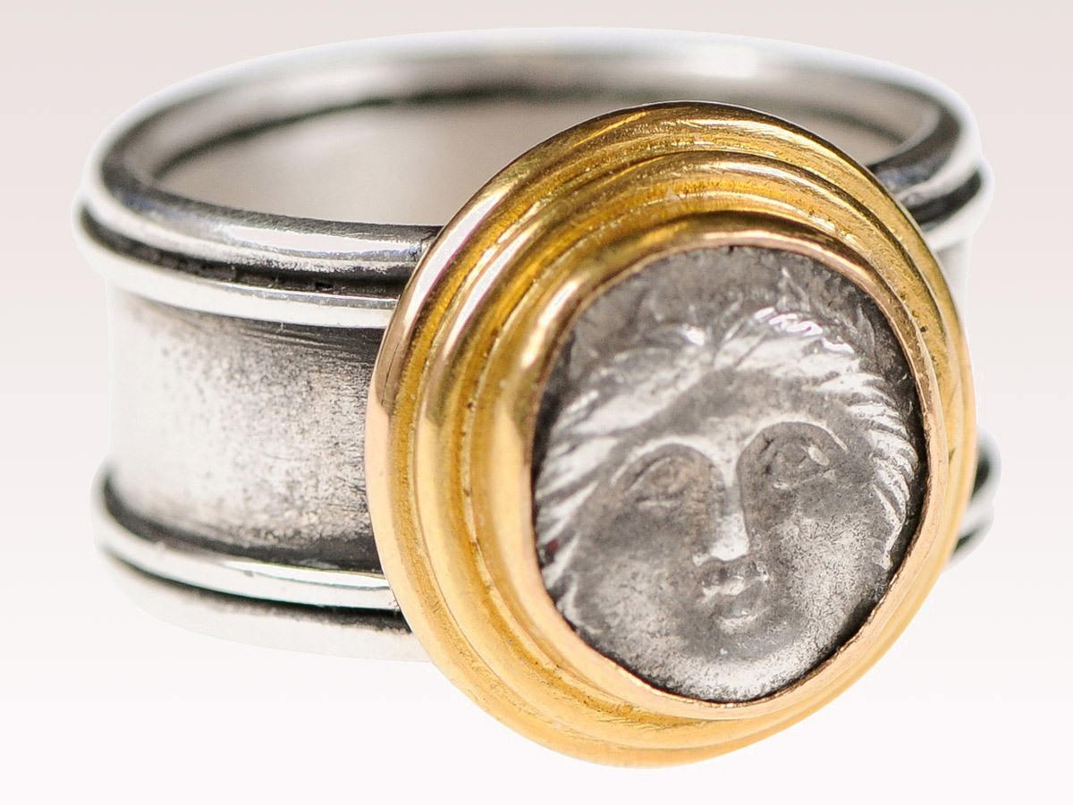 Greek Dibol Coin Ring w/22k Gold