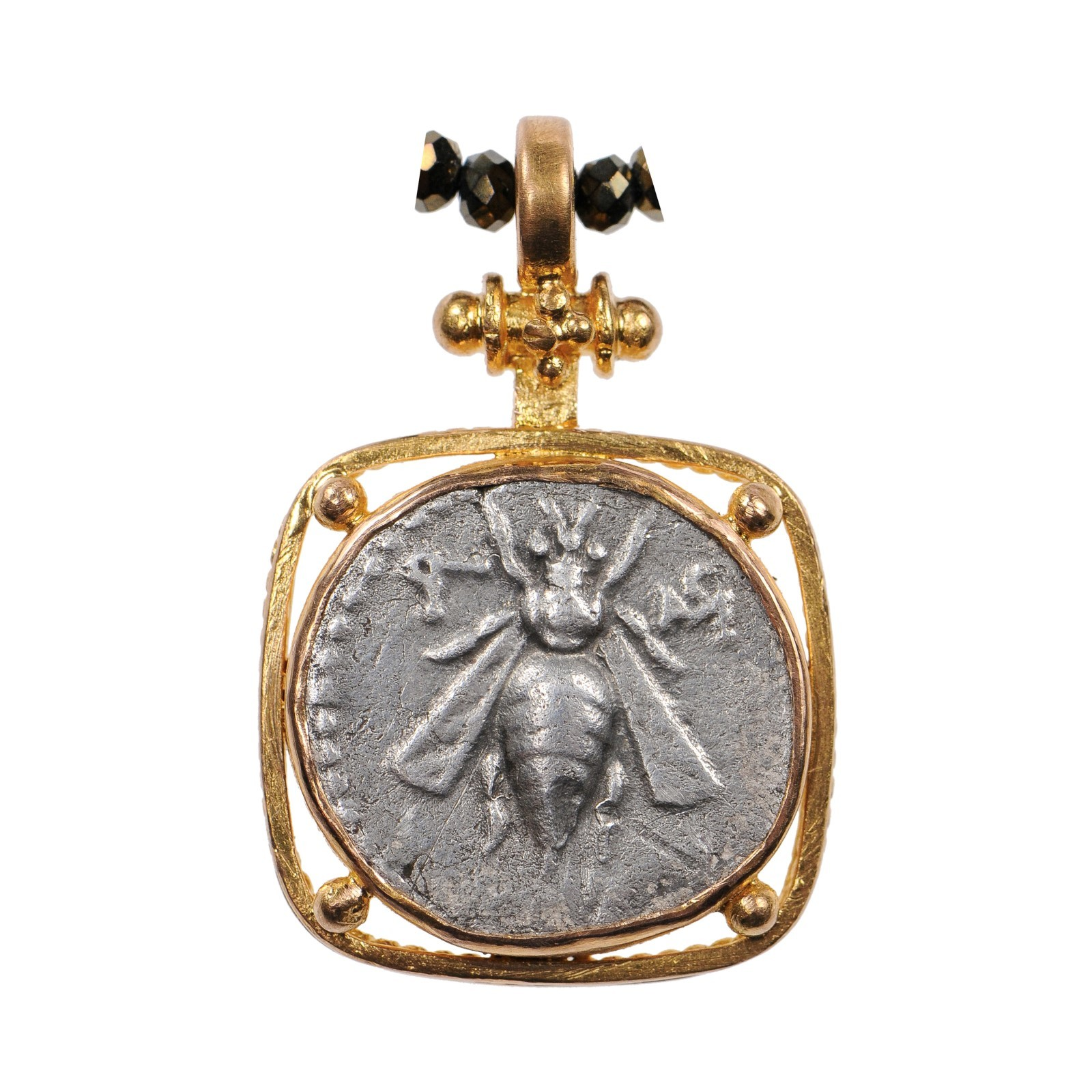 Ancient Bee & Stag Coin, 22 kt Gold Pendant