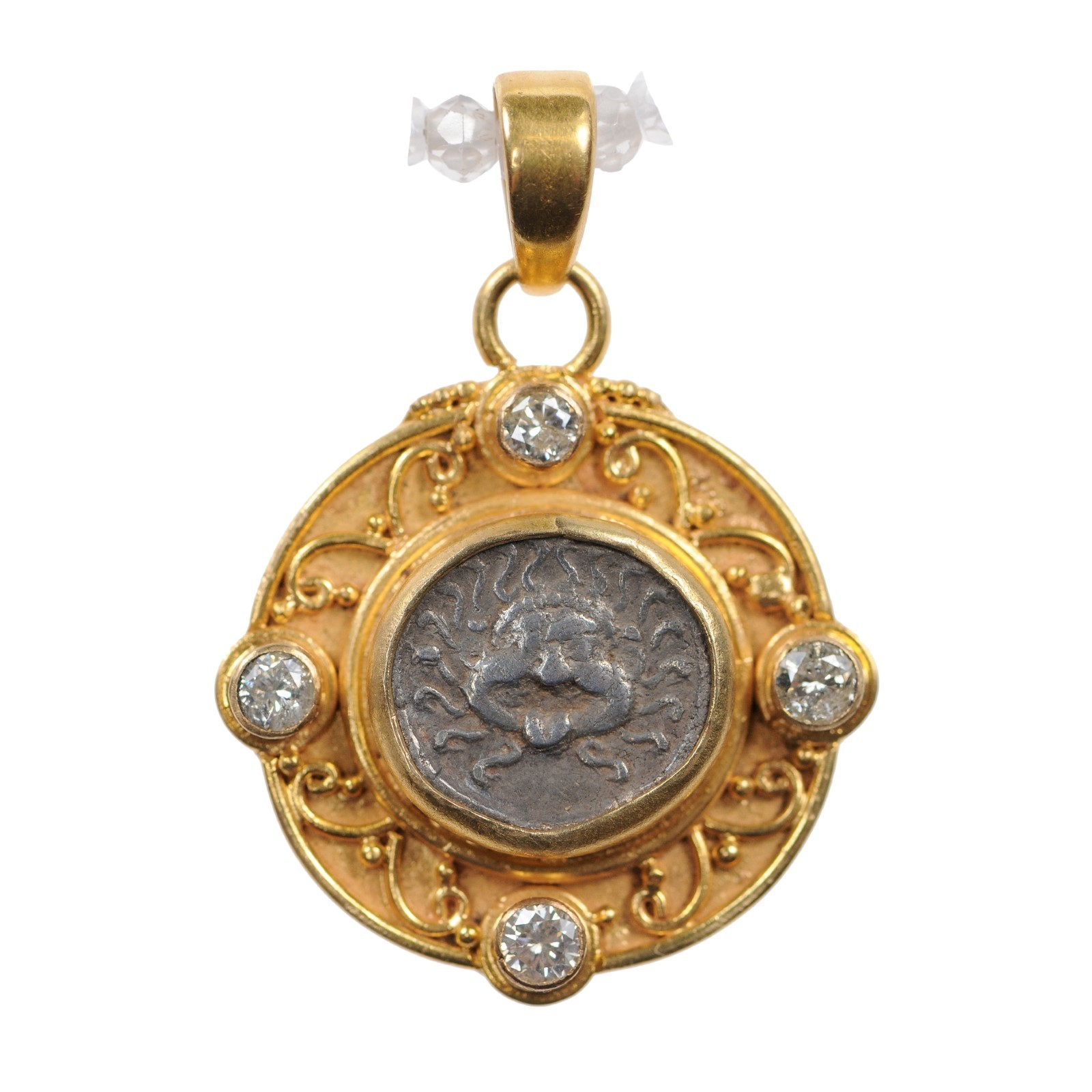 Ancient Greek Coin, Gold & Diamond Pendant