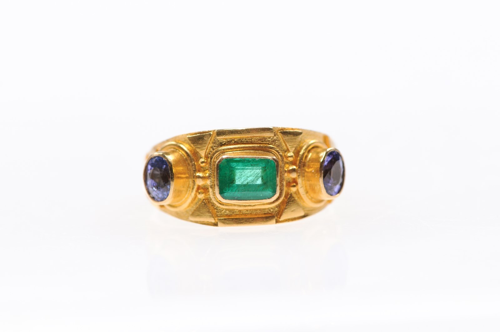 Etruscan Style Ring w/Emerald & Sapphires