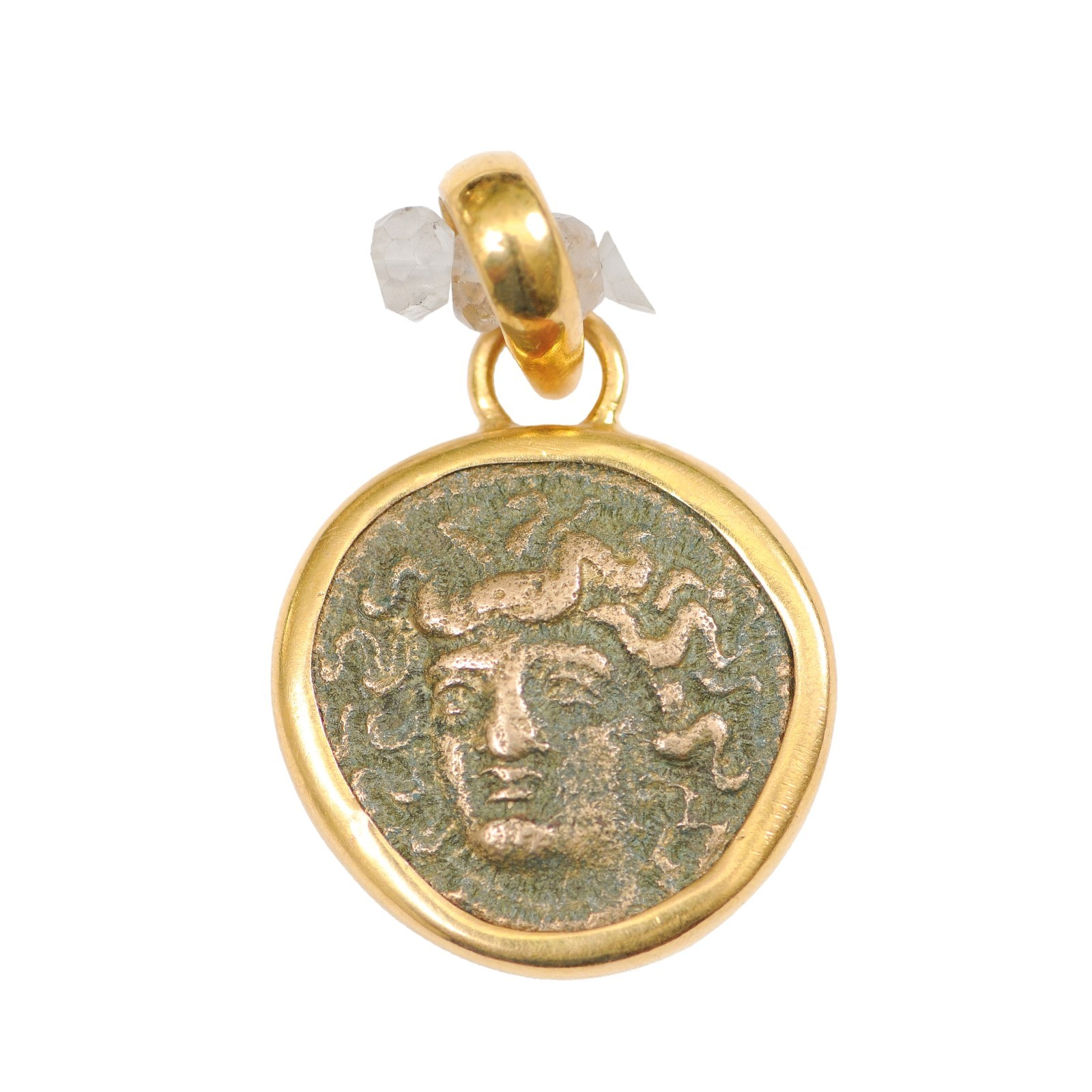 Ancient Greek Bronze Coin in 22kt Pendant
