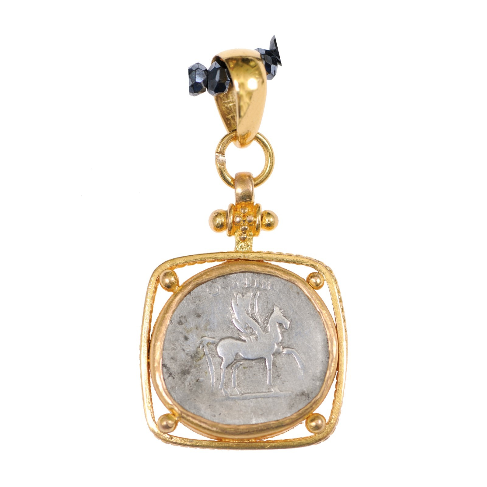 Ancient Roman Pegasus Coin in 22kt Pendant