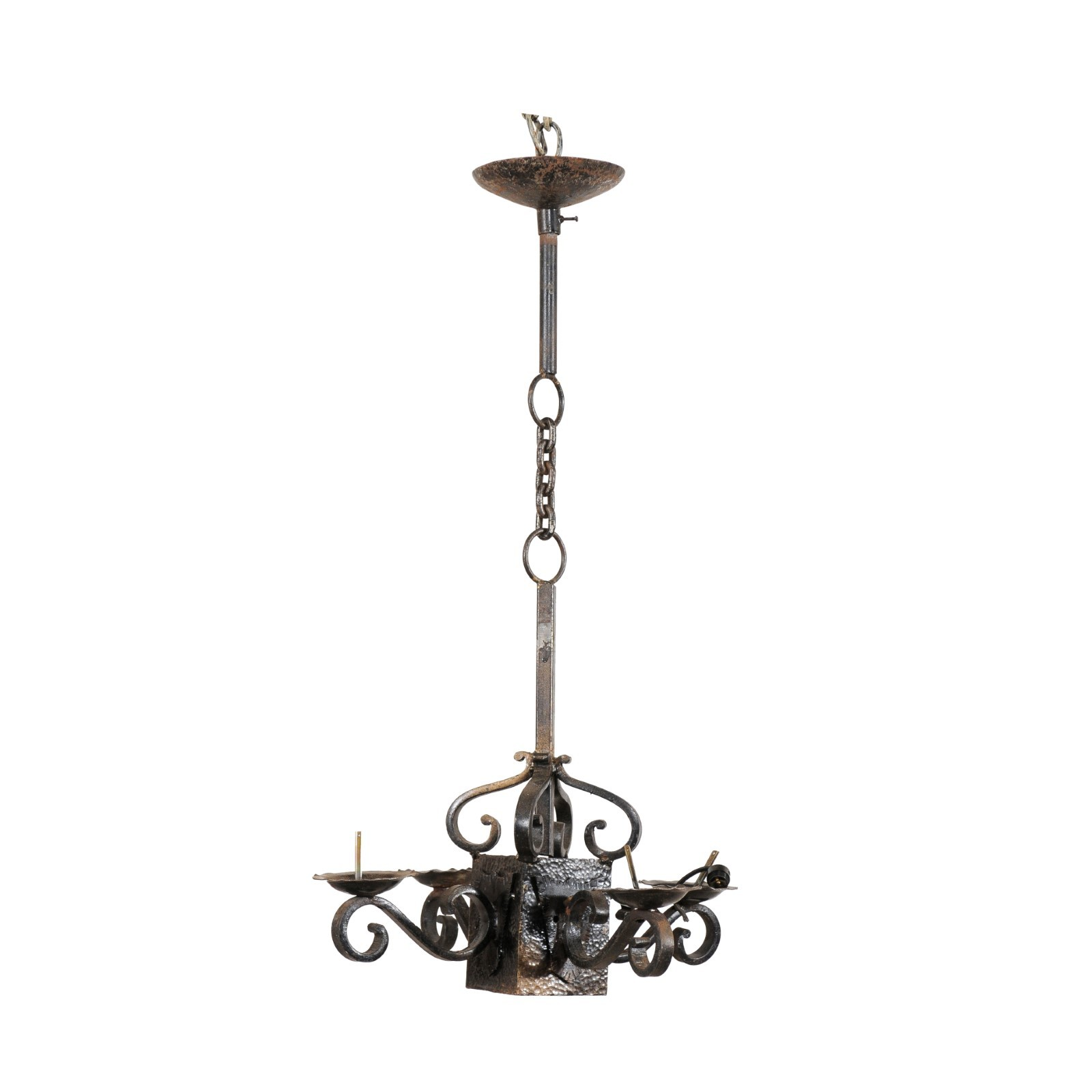 French Four-Light Suspended Chandelier