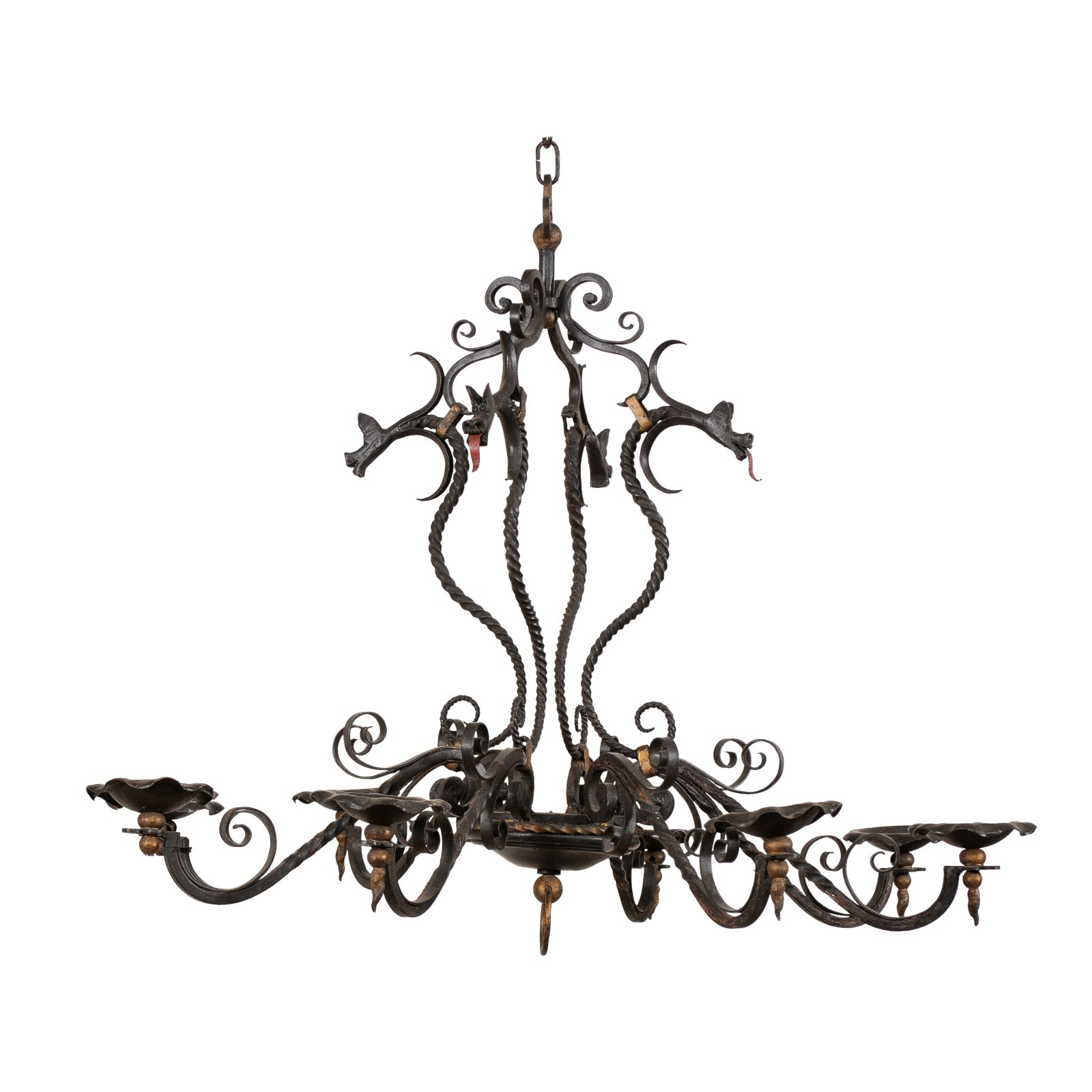 "French 8-Light ""Serpent"" Chandelier"