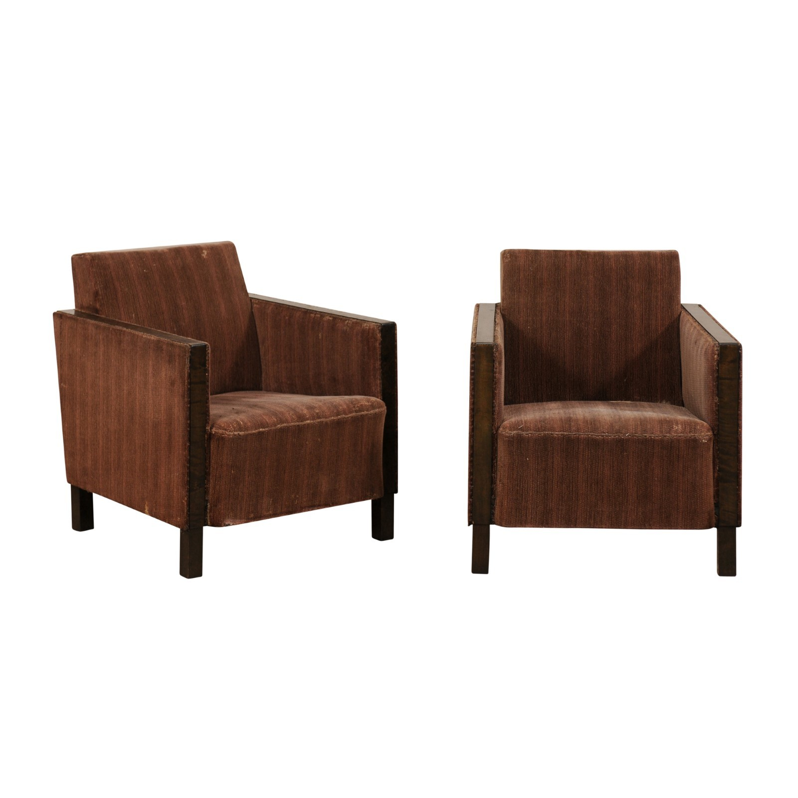 Pair Swedish Mid-Century Club Chairs