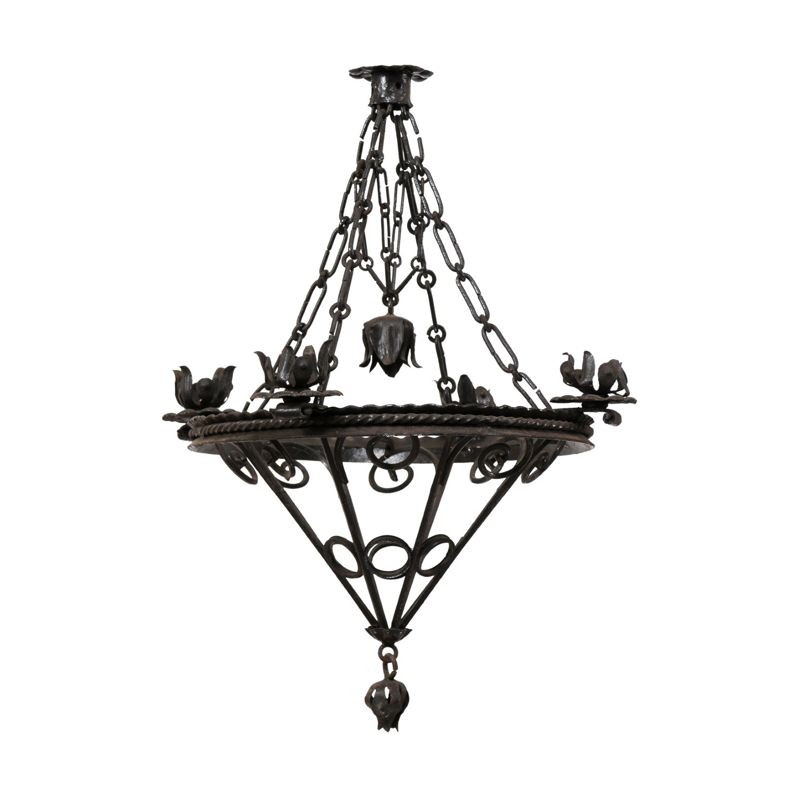 French Floral Motif Iron Hanging Light