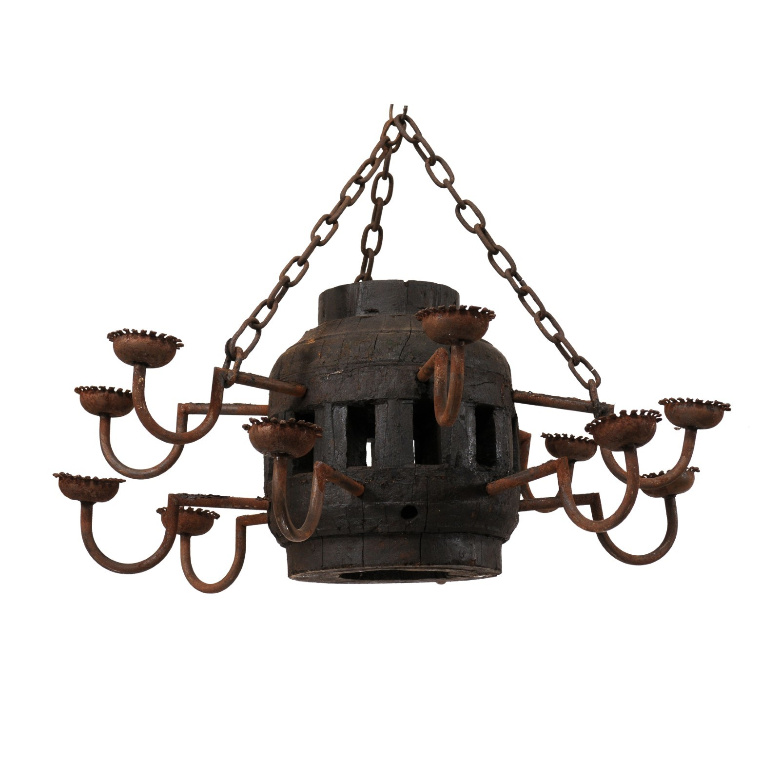 European Two-Tier Barrel Chandelier