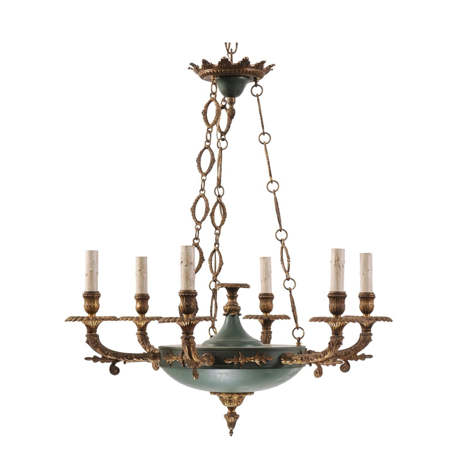 Empire Style Brass & Teal Chandelier