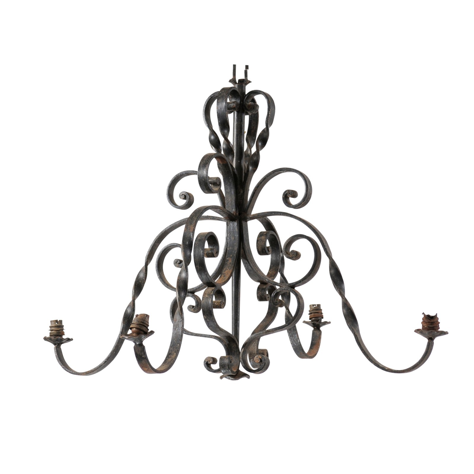French Scolling Iron 4-Light Chandelier