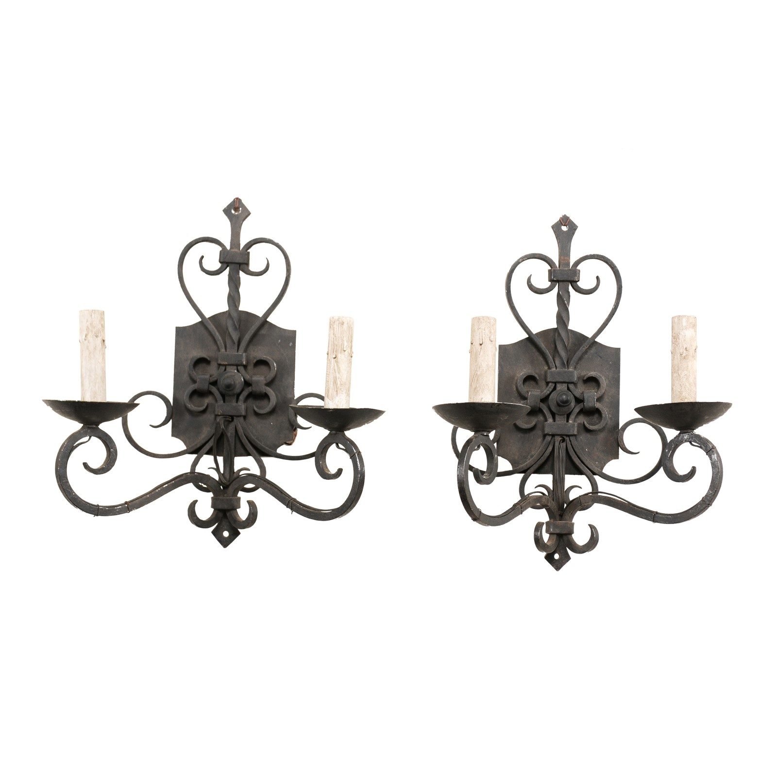 A Pair of Scrolled Iron Sconces, France