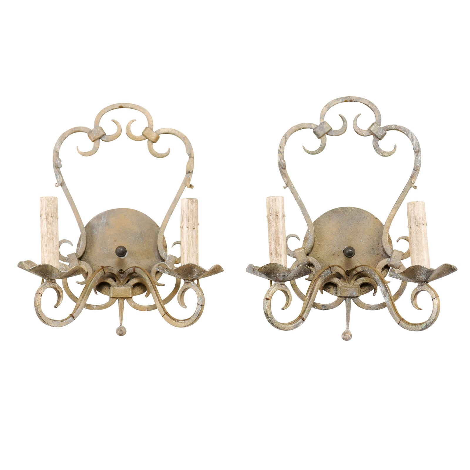 Pair French Painted Iron Sconces
