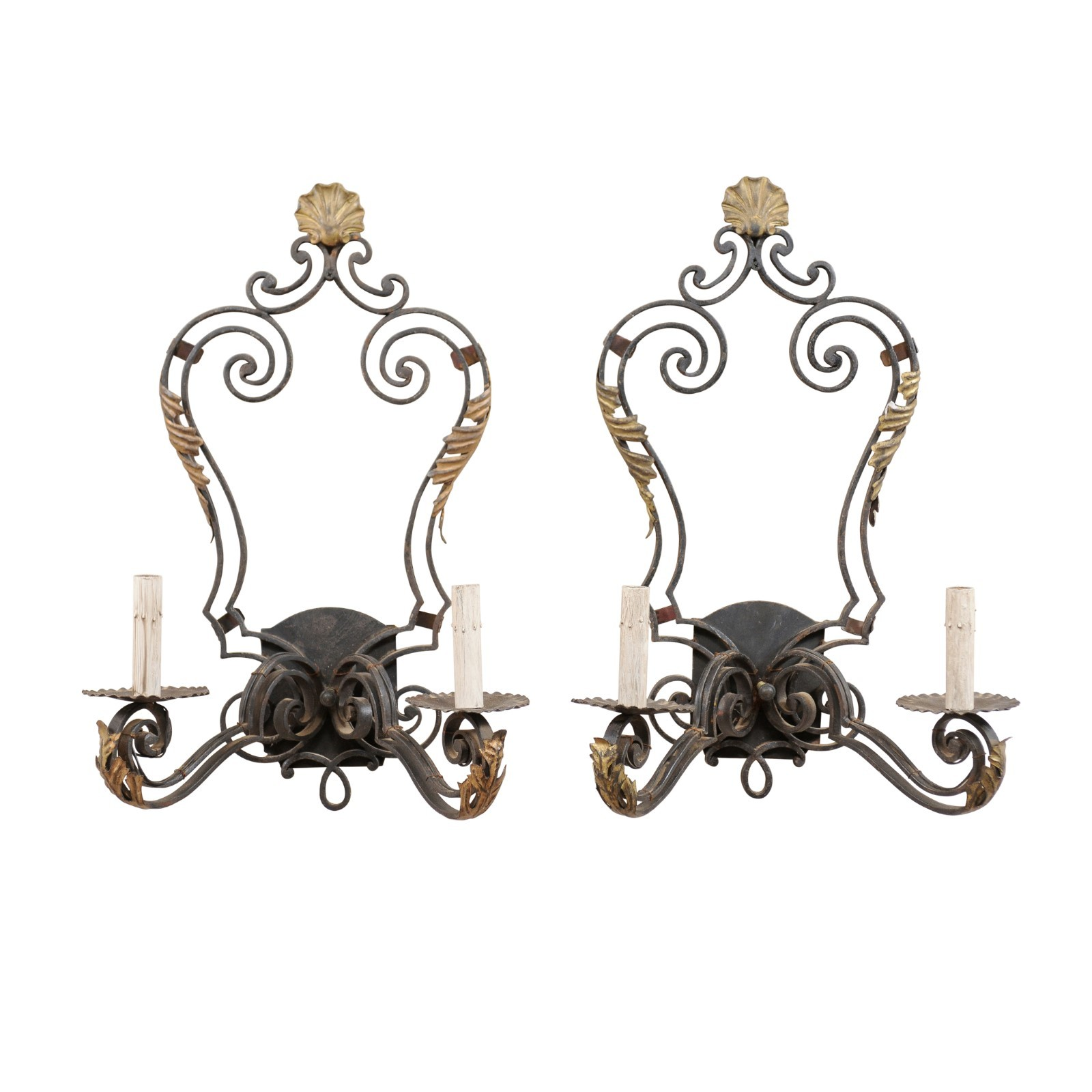 Pair French Black & Gold Sconces