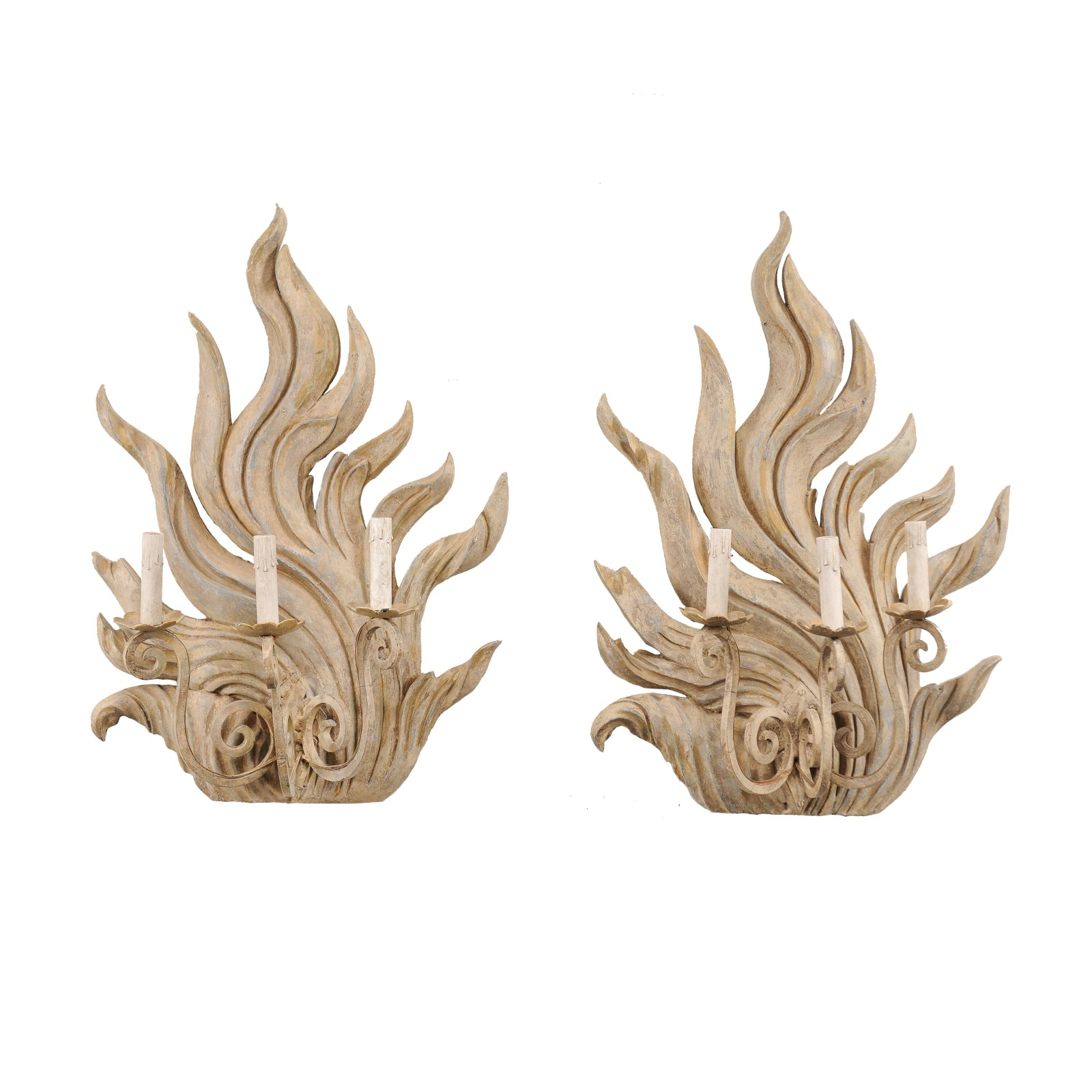 "A Pair of Custom ""Flame"" Sconces"