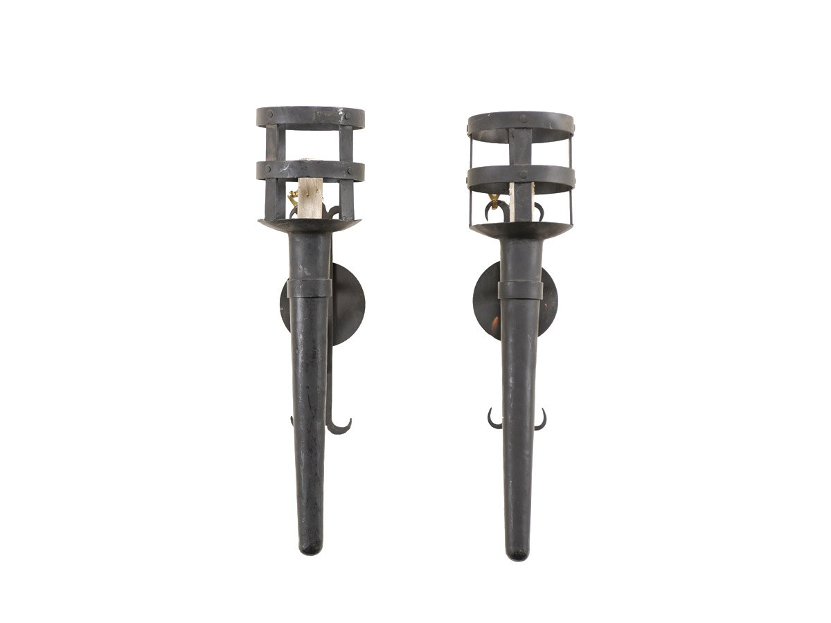 A Pair of Iron Torches Sconces