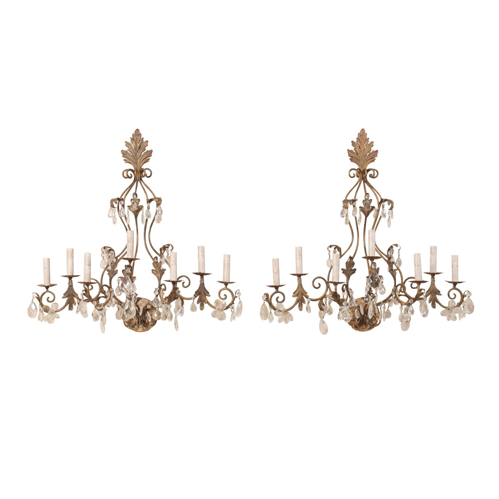 Pair French Crystal & Iron Sconces