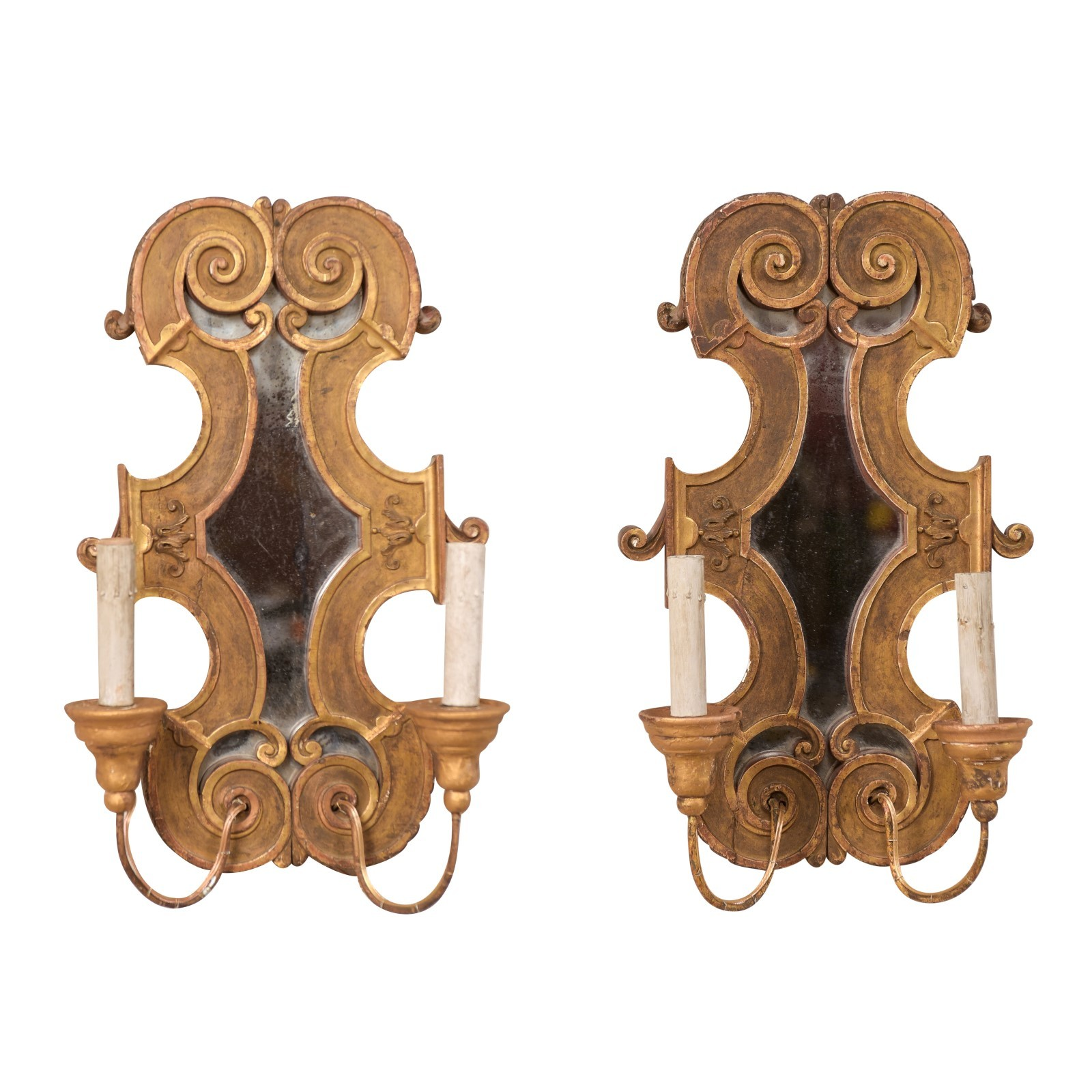 Pair Italian Gilt & Mirrored Sconces