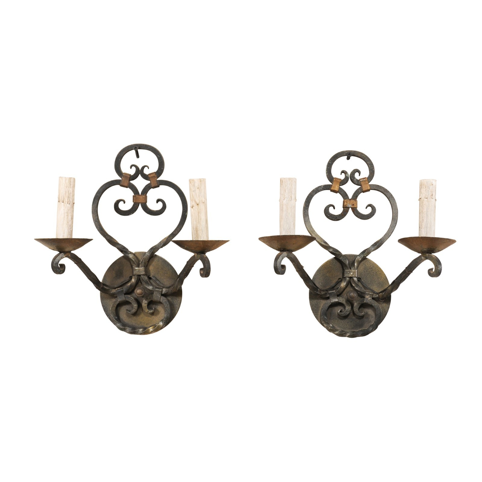 Pair of Sweetly Scrolled Iron Sconces
