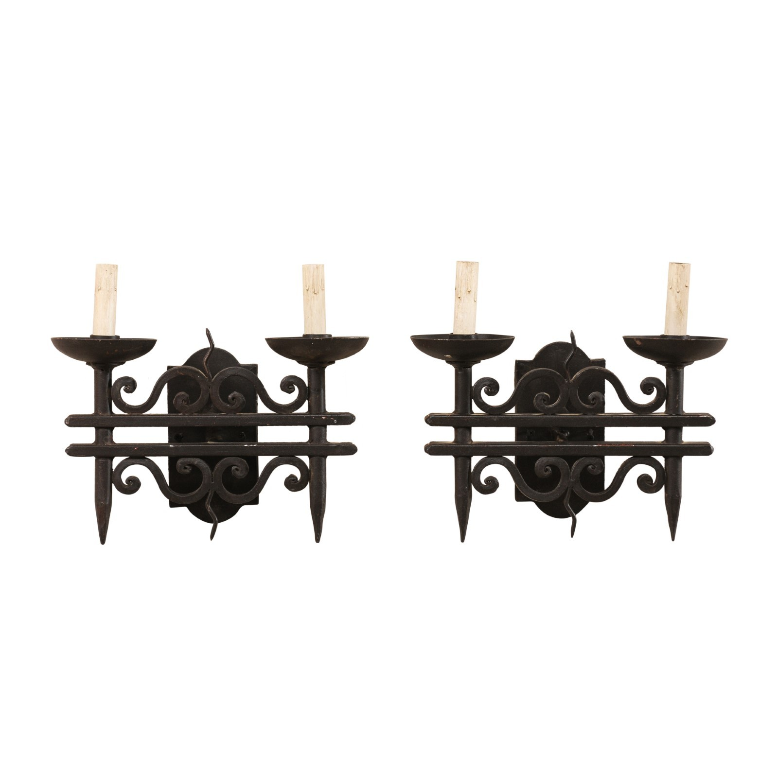 buy popular a4cde 1a09c Pair French Black Iron Sconces | 270 | A. Tyner Antiques