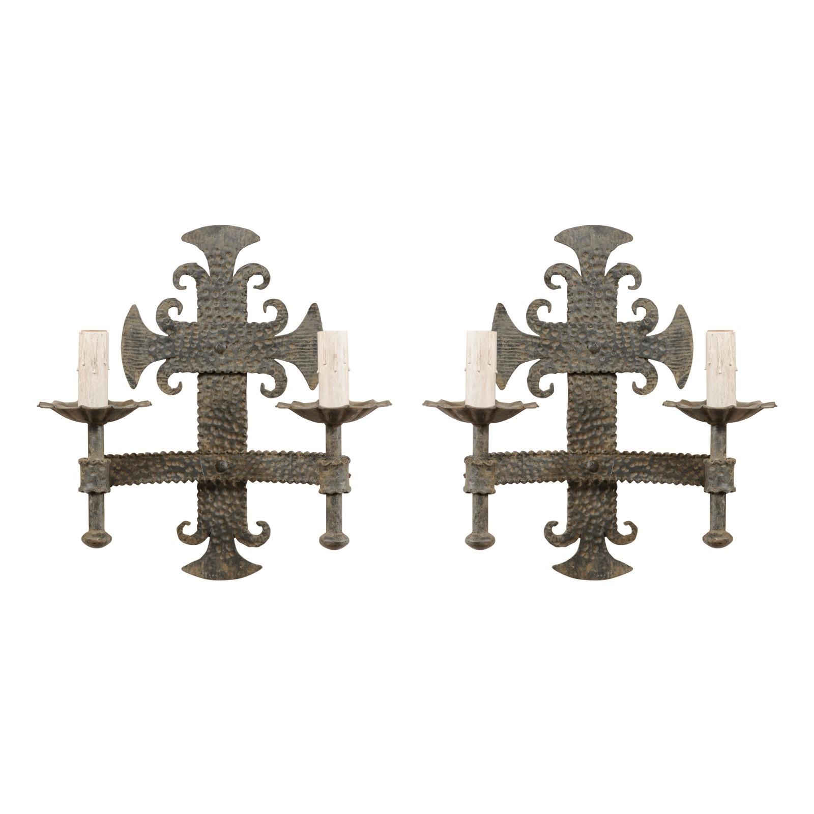 Pair French Hammered-Iron Sconces