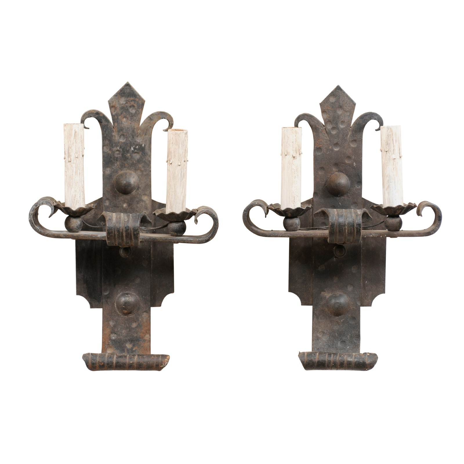 Pair French 2-Light Fleur-de-lys Sconces