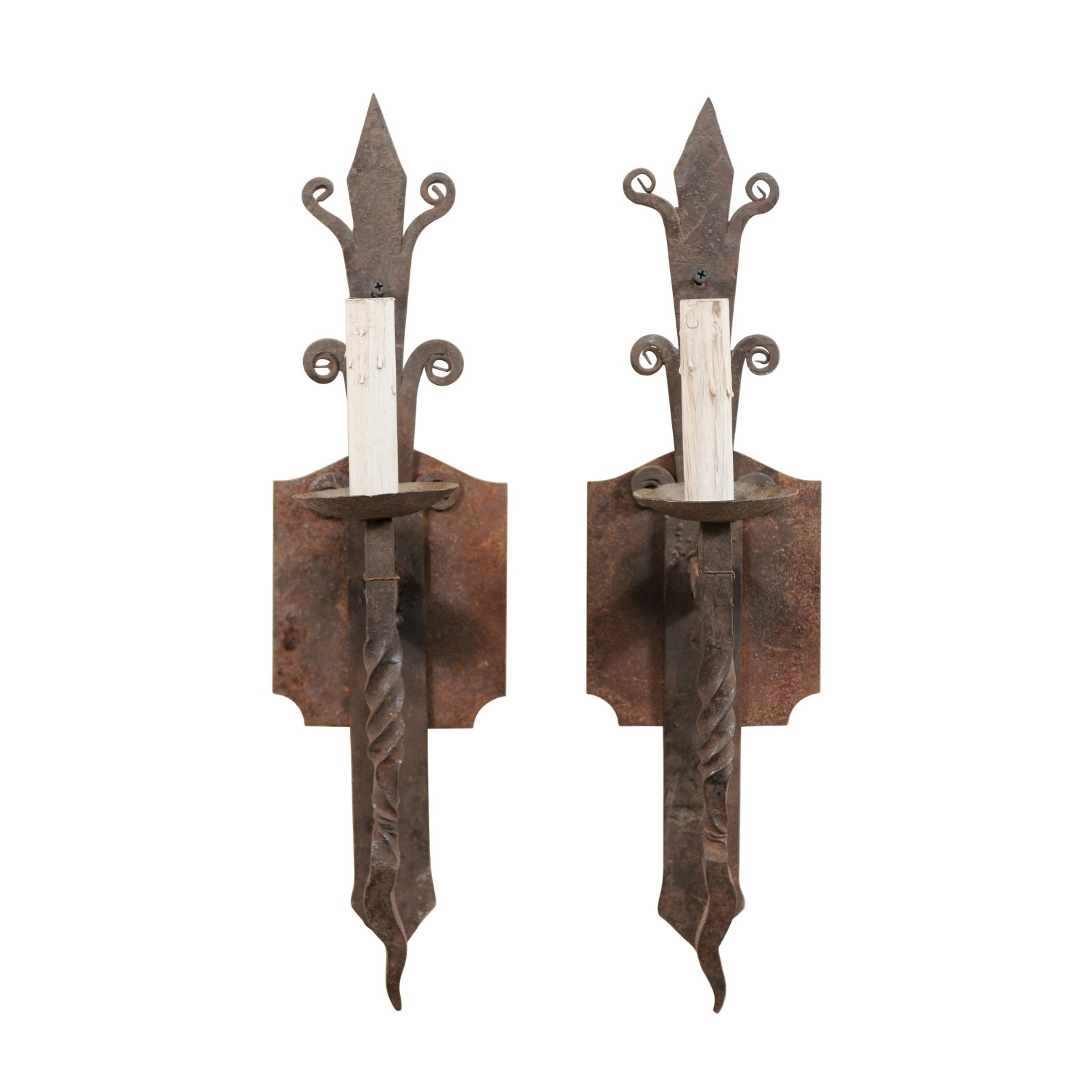 Pair Vintage French 1-Light Sconces