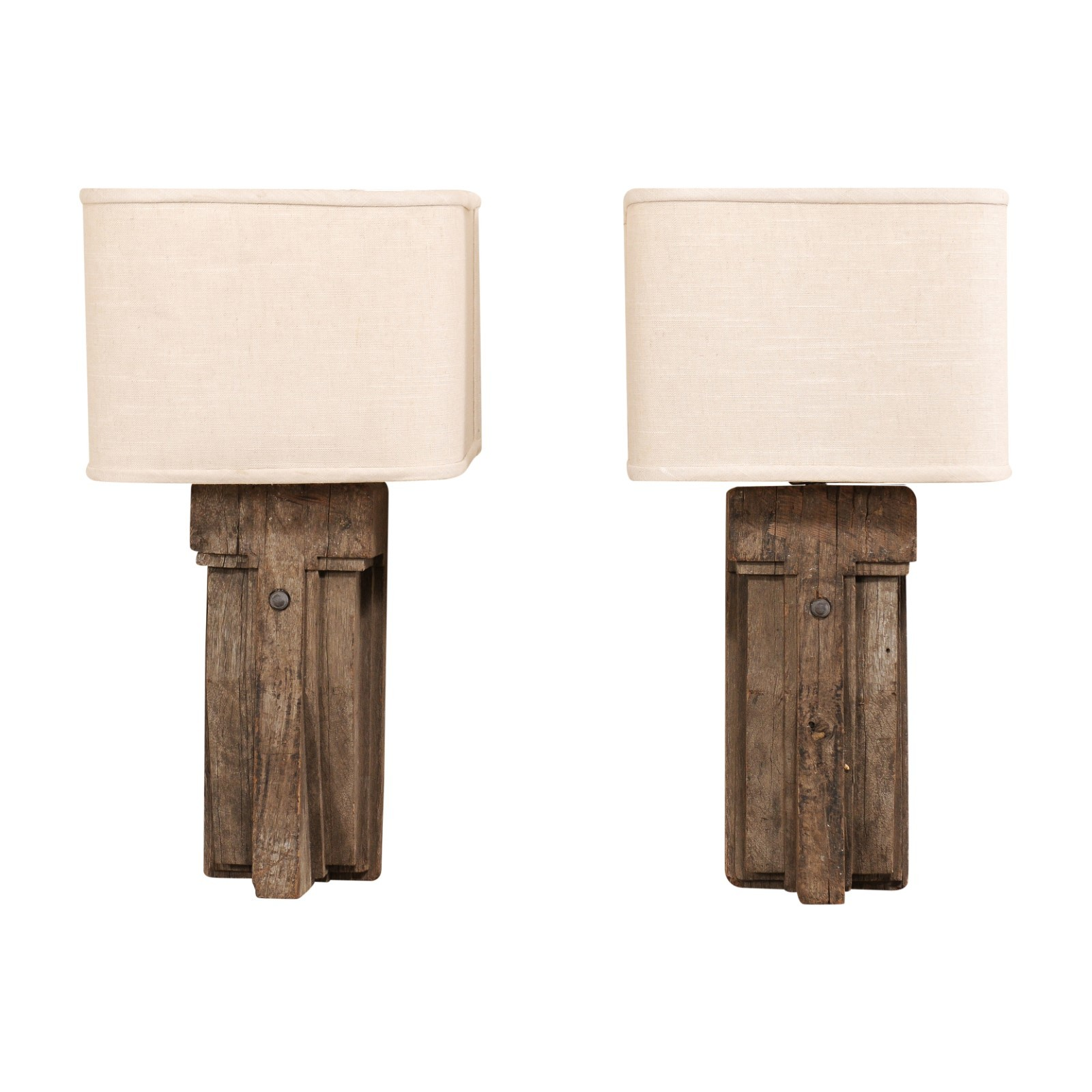 Pair French Wood Fragment Sconces w/Shades