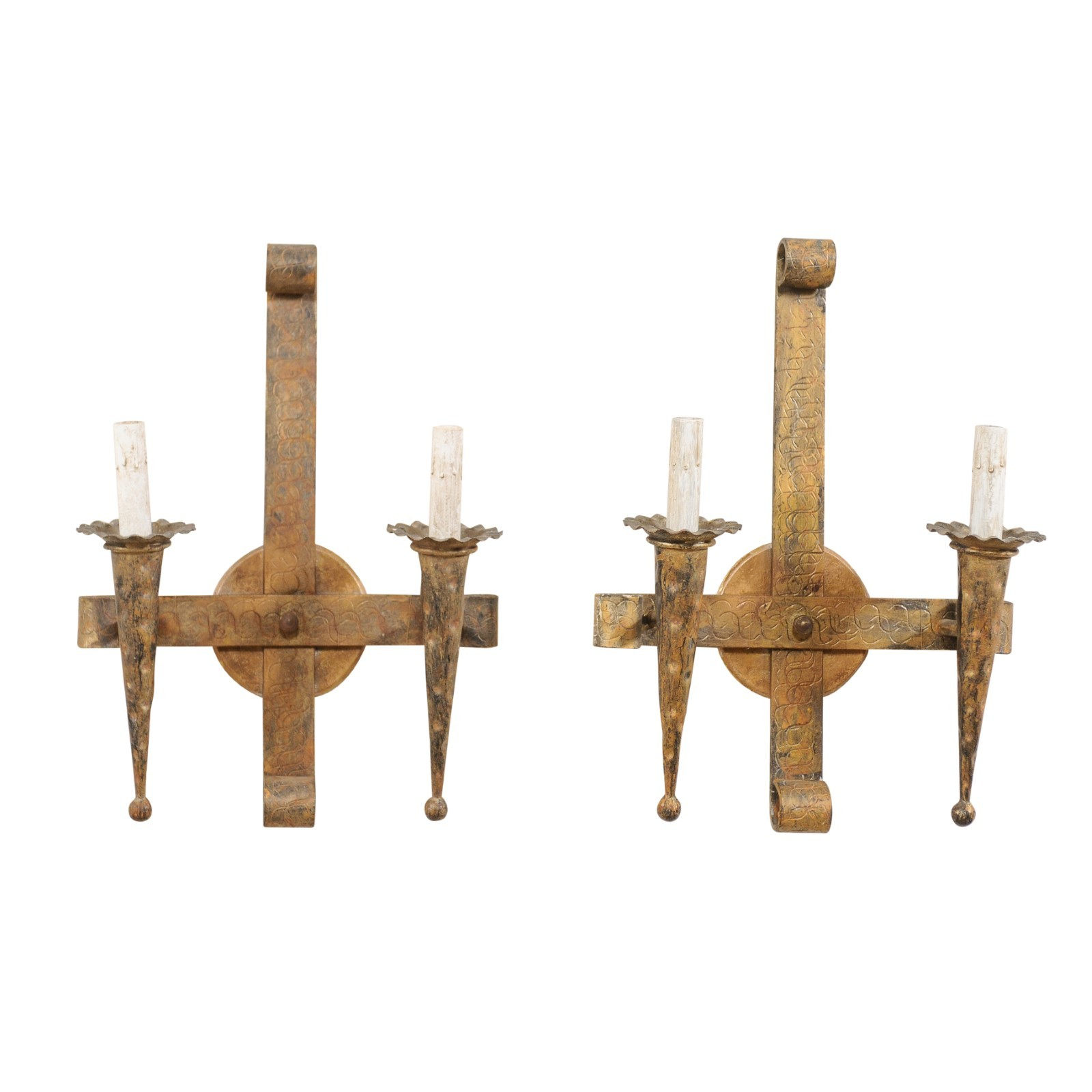 Pair French Gold-Tone Torch Light Sconces