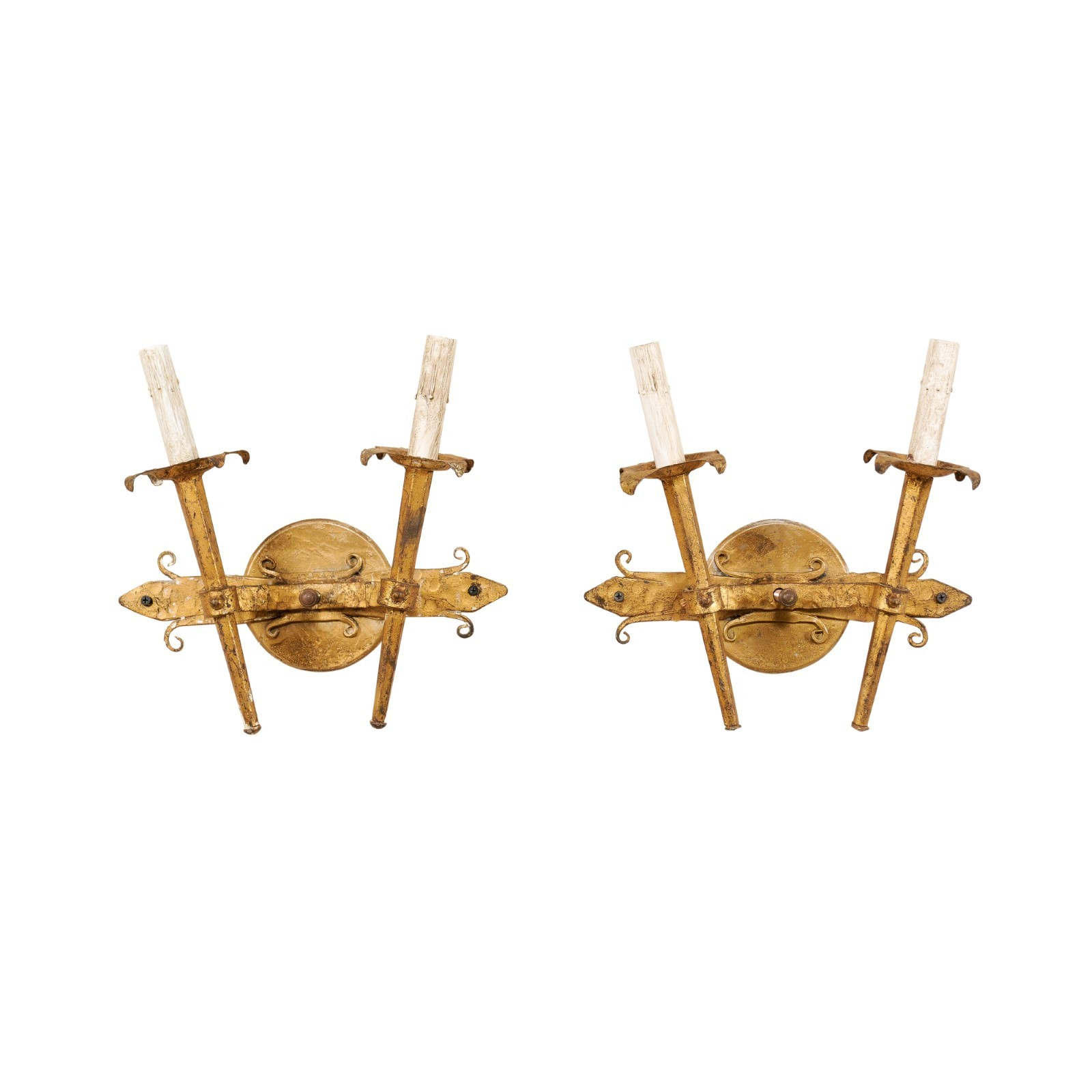 French Pair Two-Light Sconces, Gold Iron