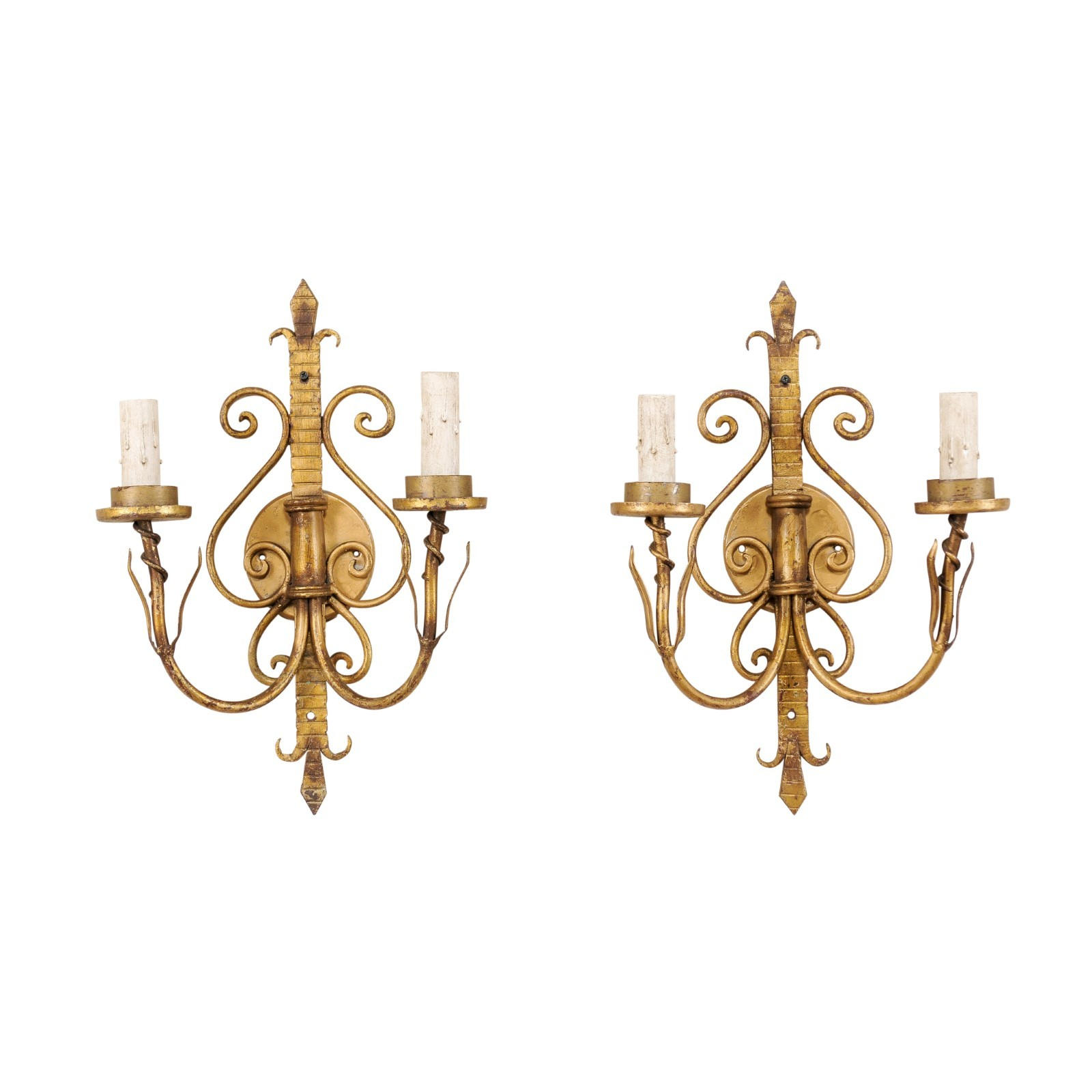 Pair French Scrolling Fleur-De-Lys Sconces