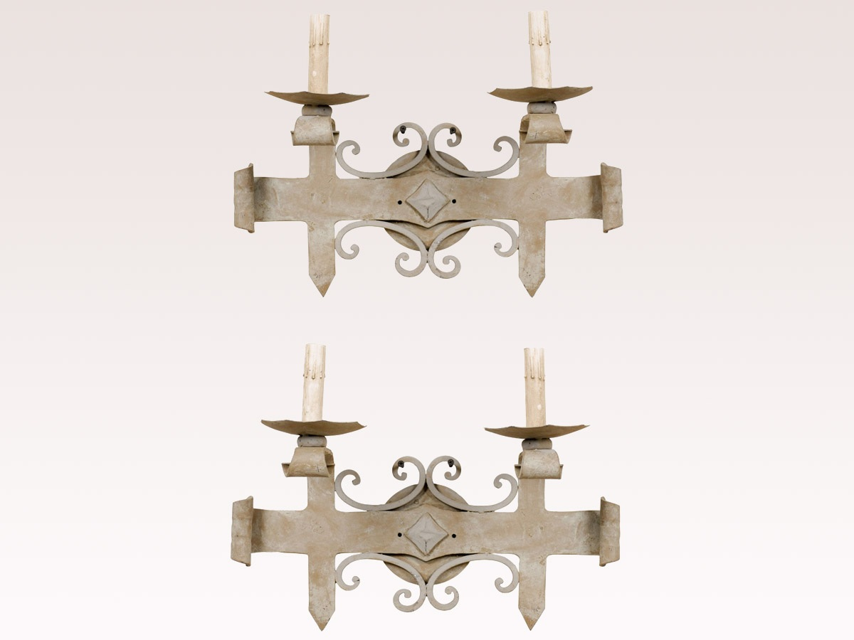 Two French Blue-Grey Iron Sconces